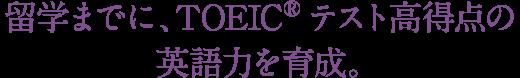 留学までに、TOEICRテスト高得点の英語力を育成。